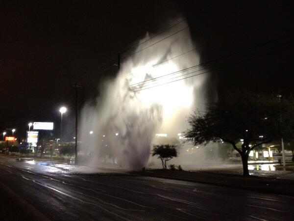 A damaged fire hydrant spewed water high into the air early Friday morning.