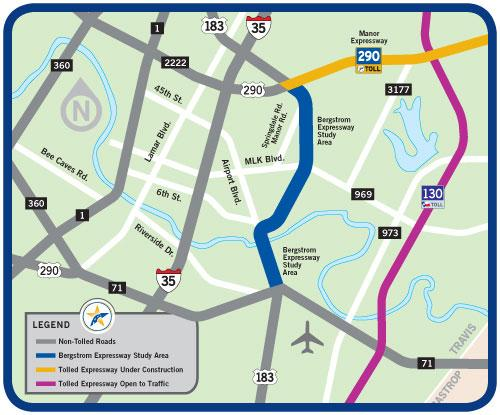 Could Bergstrom Expressway Be CureAll For Airport Congestion KUT - 183a toll road map