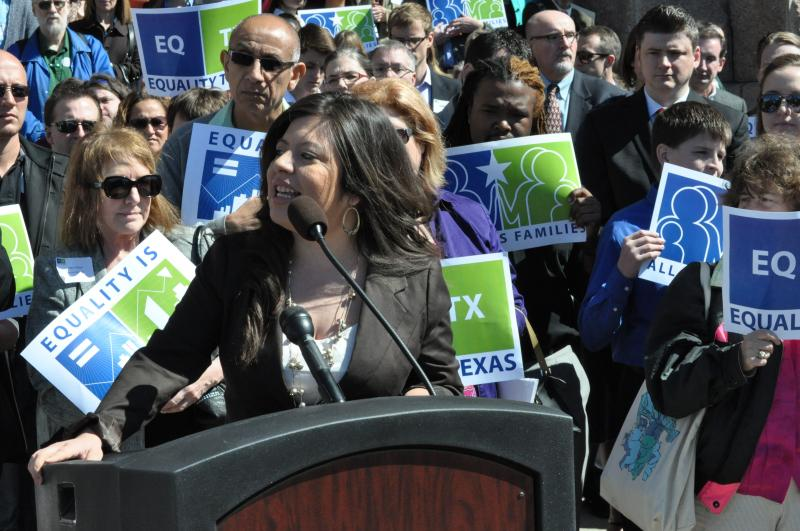 Rep. Mary Gonzalez speaks to LGBTQ advocates at Equality Texas' lobby day on Monday.