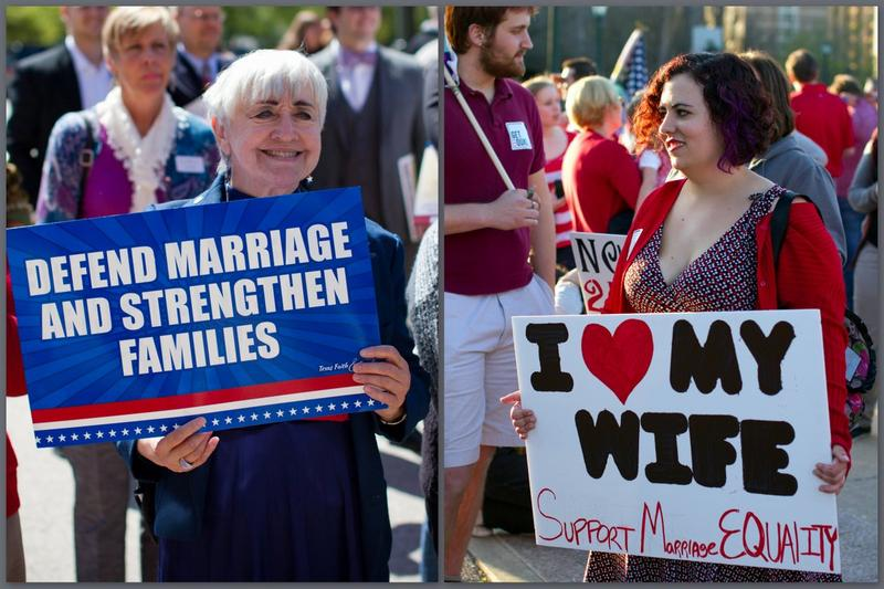 Attendees at two opposite rallies at the Texas State Capitol Tuesday both sought the strengthening of families.
