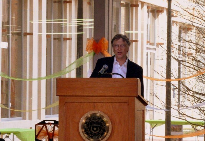 Bill Gates spoke at the opening of a computer center his foundation financed to the tune of $30 million.
