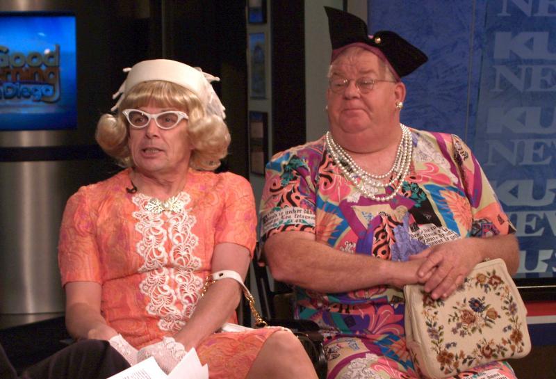 "Jaston Williams and Joe Sears as their ""Greater Tuna"" characters Vera Carp and Pearl Burras."