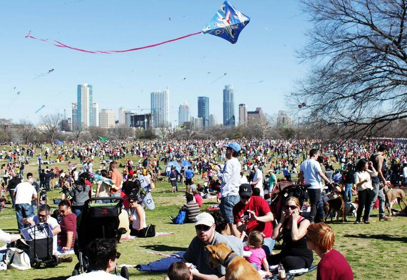 The high-flying scene at Zilker Park on Sunday.