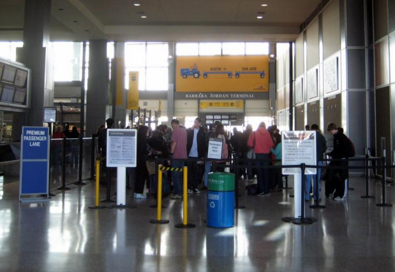 A security checkpoint at Austin-Bergstrom. Sequester cuts are expected to have less impact on lines than a flood of SXSW visitors.