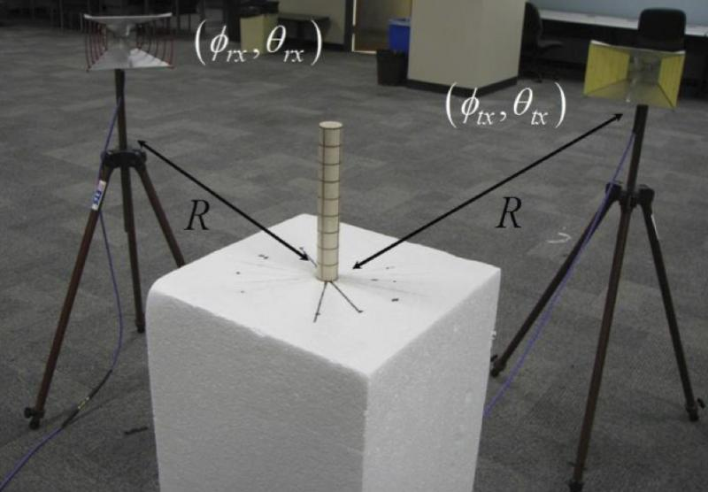 Researchers at UT tested the new 'invisibility cloak' on this thin metal cylinder.