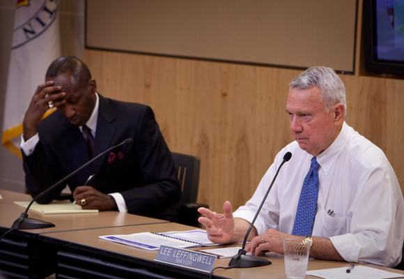 Austin Mayor Lee Leffingwell (R) at a city council work session in 2011. Today, Leffingwell announced  some affordable housing programs will see a cut due to federal sequestration.