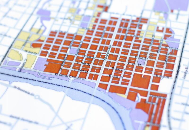 A detail of a city map designating the Central Business District, aka downtown.