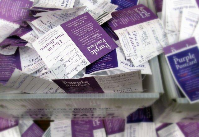 Thousands of postcards from Texans across the state in support of family violence programs funding made their way to lawmakers at the Capitol Wednesday. Purple is a color usually used for family violence awareness.