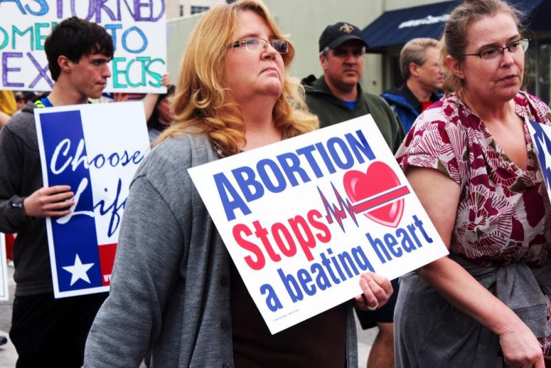 Anti-abortion protesters marched on the Texas Capitol earlier this year. A bill in the Texas Senate could curtail the number of abortion providers in the state.