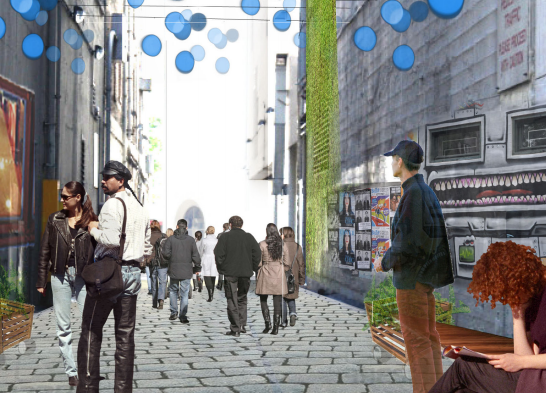 """Seattle developed this concept art when the city began """"activating"""" its alleyways in 2010."""