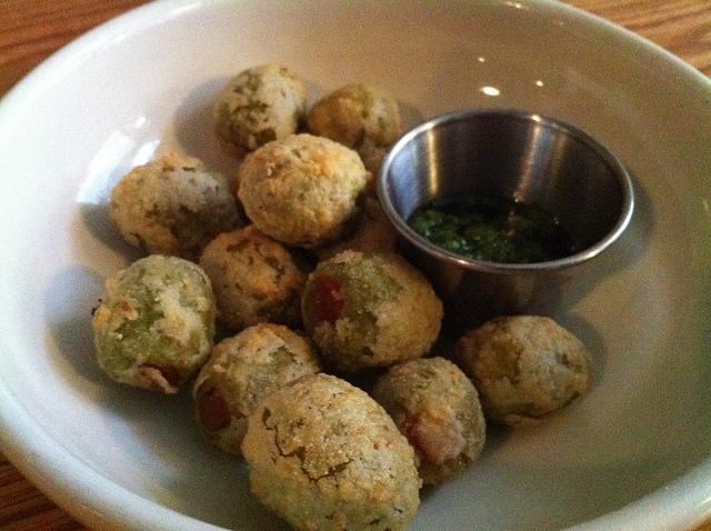 Fried olives at Cherry Street, an Italian restaurant at 1612 Lavaca Street.