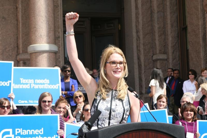 Stephanie March addresses a rally for Planned Parenthood at the Capitol.