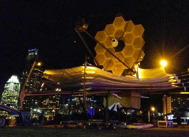 The full-scale model of the Webb Space Telescope is outside the Long Center for SXSW Interactive.