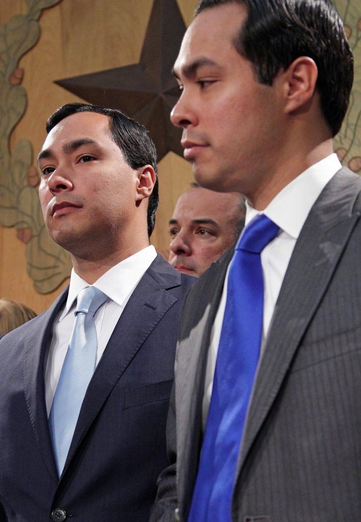 U.S. Rep. Joaquin Castro (left) and San Antonio Mayor Julian Castro spoke to the benefits of expanding Medicaid in Texas.