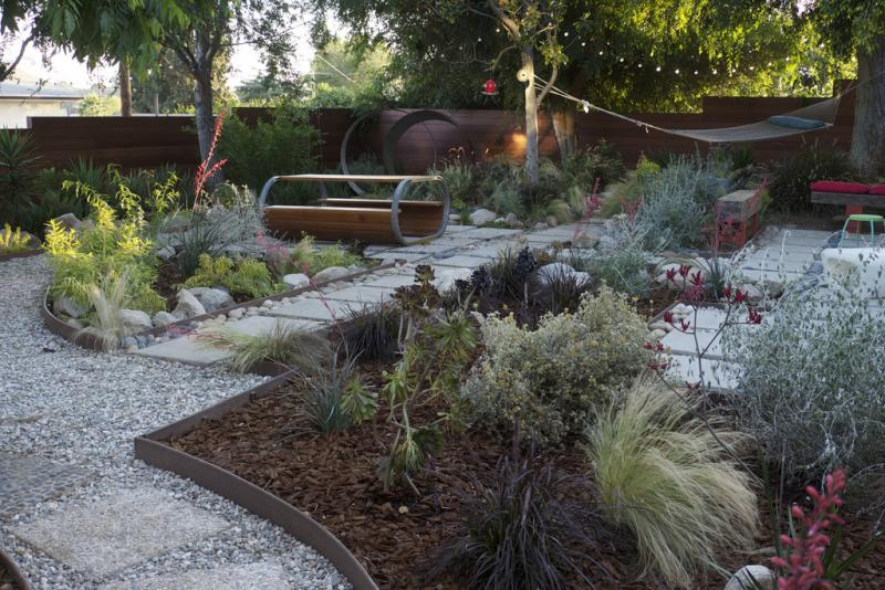 An upscale greywater garden, built in Los Angeles.