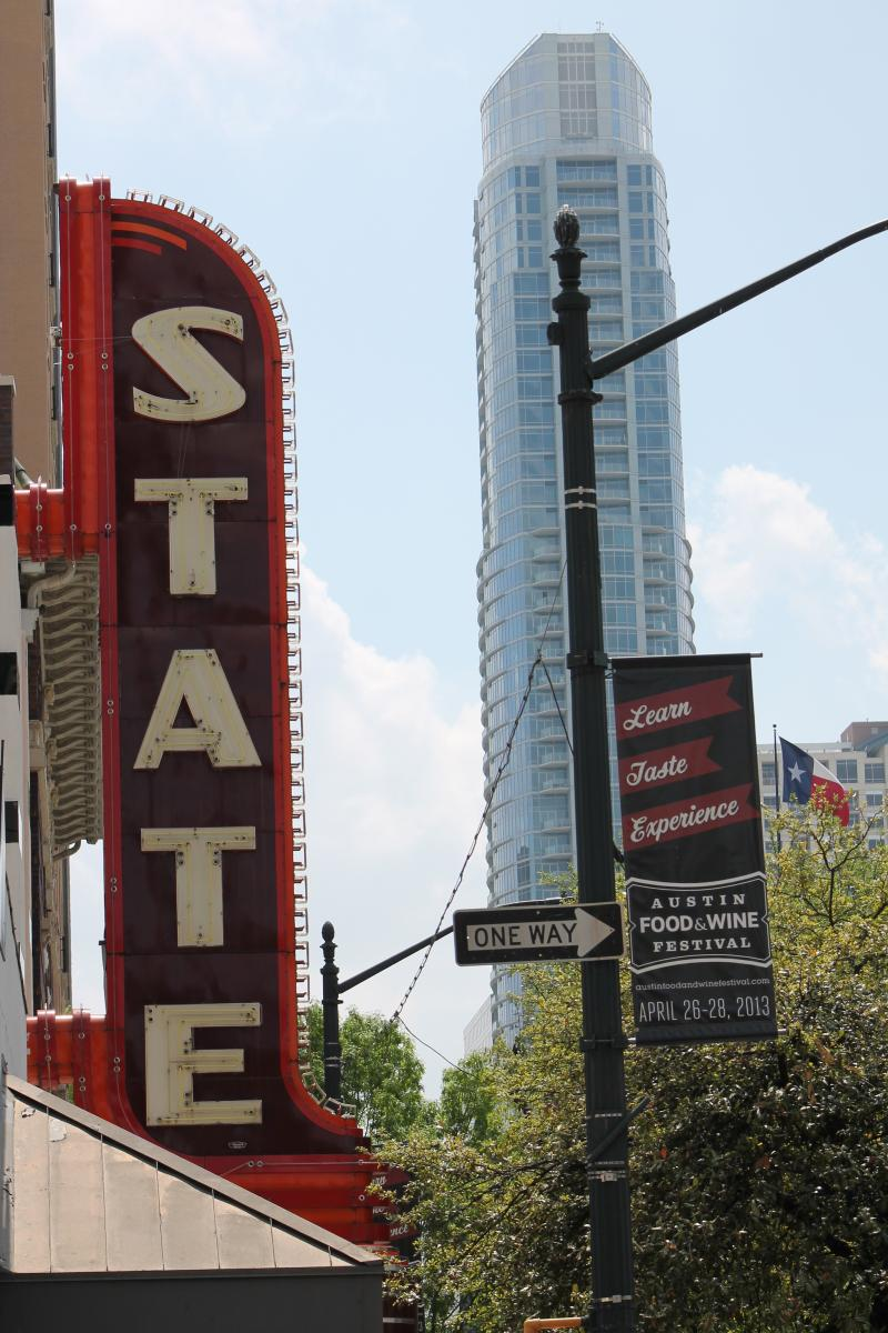The State Theatre would use a city-funded grant to renovate its iconic sign.