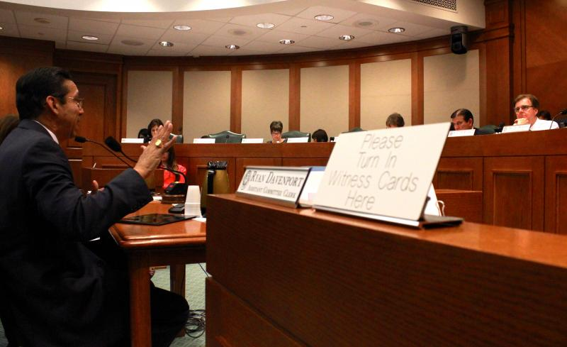Round Rock Superintendent Jesús Chávez testifies during a Senate Education Committee hearing on April 16, 2013.