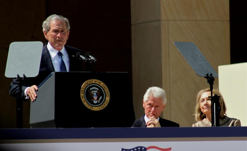 Former President George W. Bush speaking at the dedication of the Bush Presidential Center