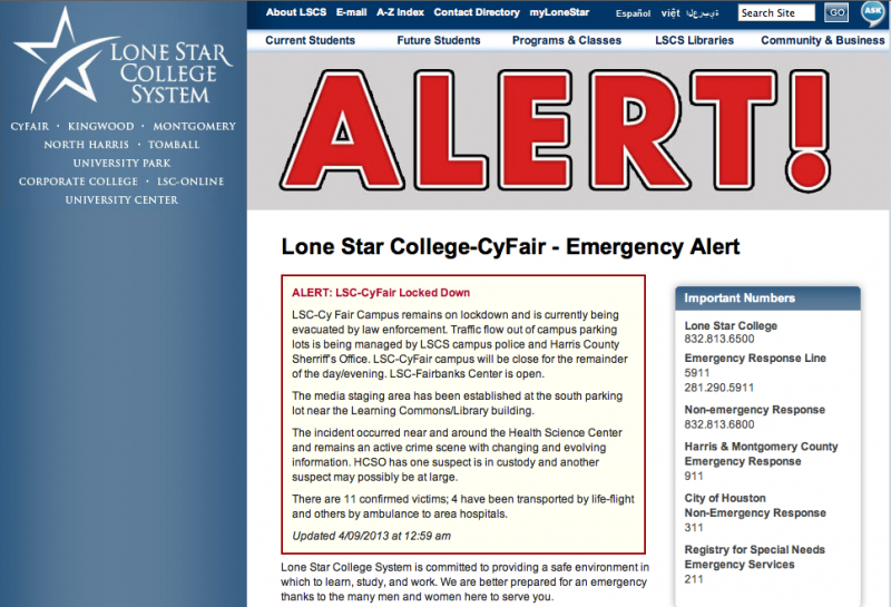 Authorities locked down the Lone Star campus today in Cypress after 11 students were stabbed on campus.