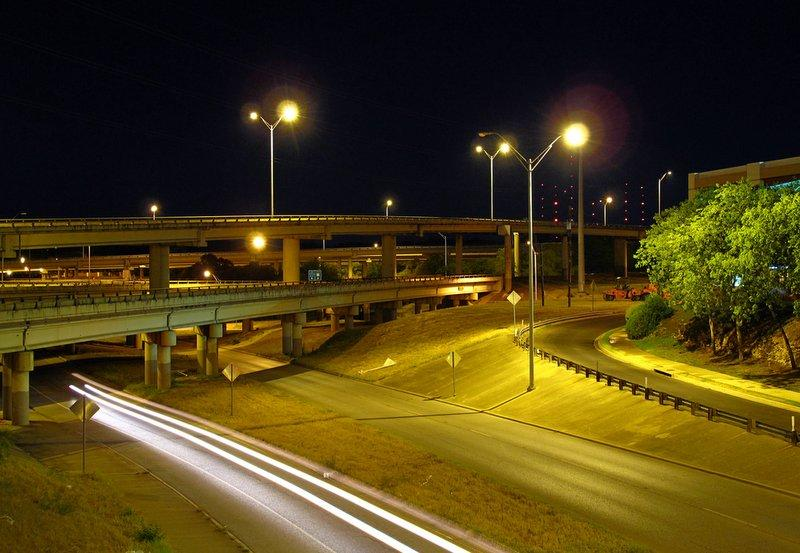 """The """"spaghetti bowl"""" Mopac exchange in West Austin. Despite confusion, it's technically legal to ride your bike on the highway."""