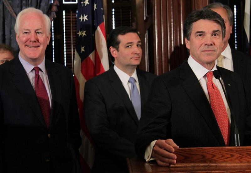 From left: U.S. Sens. John Cornyn, Ted Cruz and Gov. Rick Perry argued against expanding Texas Medicaid under the Affordable Care Act.