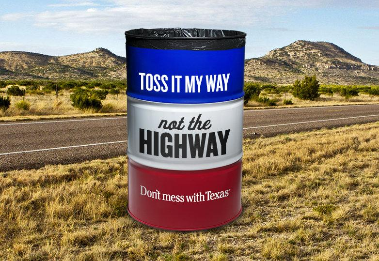 "The famous ""Don't Mess With Texas"" campaign underwent a retro makeover to dissuade younger drivers from littering."