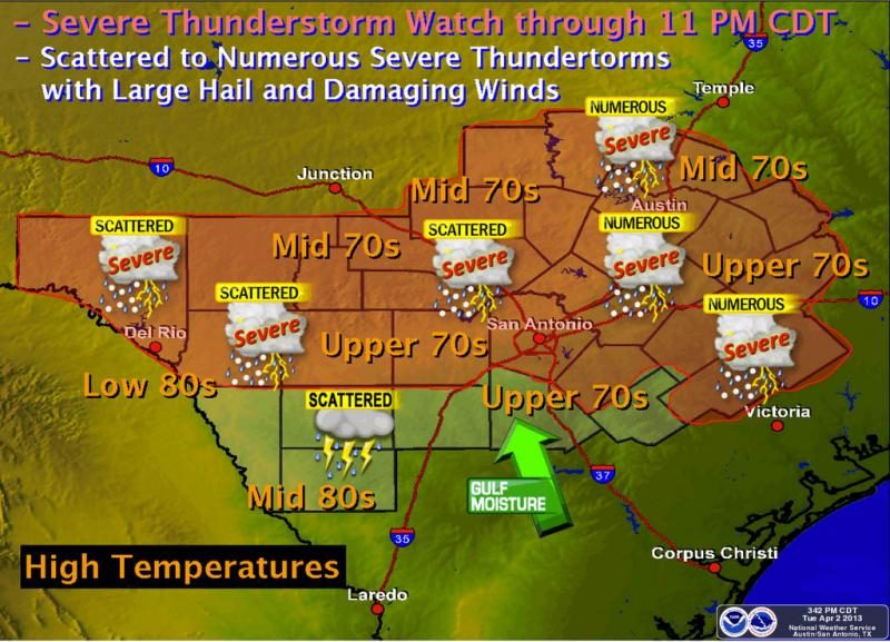 Scattered to numerous showers and thunderstorms are expected in Central Texas this afternoon.