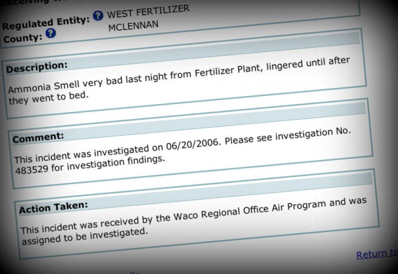 A citizen complained to the TCEQ in 2006 of a strong ammonia smell coming from the West Fertilizer Plant.