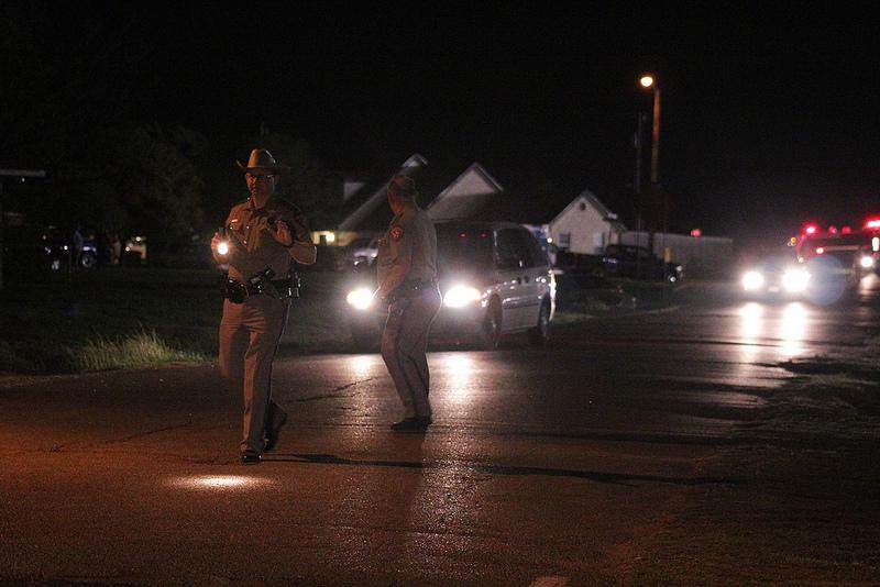 Public safety responders in West, Texas, following a blast Wednesday evening.