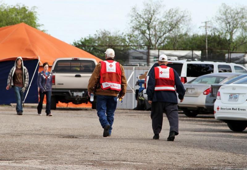 American Red Cross volunteers in West on April 18, one day after the explosion.