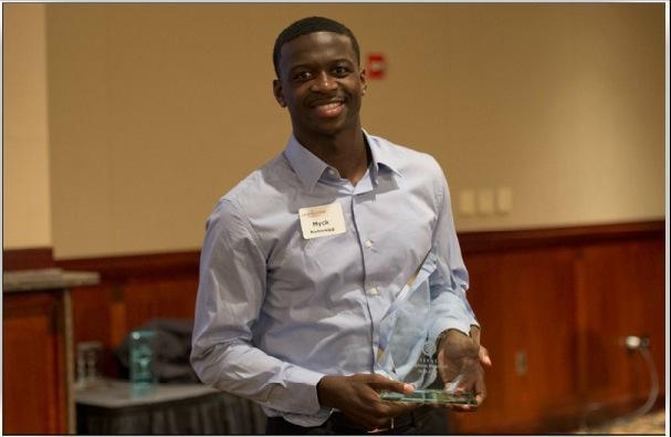 Myck Kabongo accepts his MVP award this week.