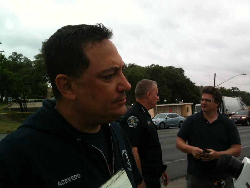 APD Chief Art Acevedo at the scene of this morning's officer-involved shooting.