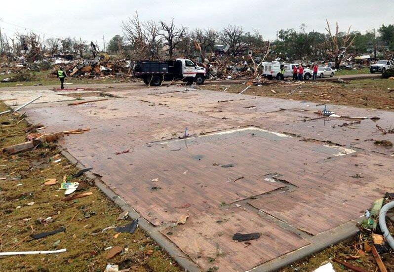 A tornado completely demolished this house in Granbury, Texas last night.