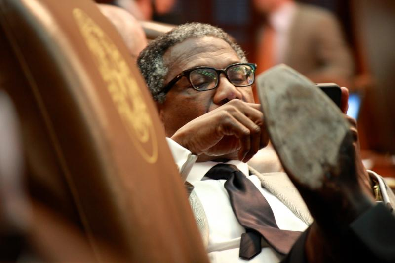 State Rep. Harold Dutton, D-Houston, sits back briefly near the end of the session's penultimate day, May 26, 2013.