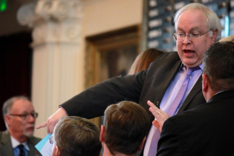 House Parliamentarian Chris Griesel, top right, speaks during a point of order on House Bill 1025 on May 26, 2013.