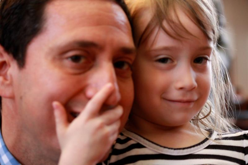 State Rep. Trey Martinez-Fischer hugs his daughter, Francesca, 4, on May 27, 2013.