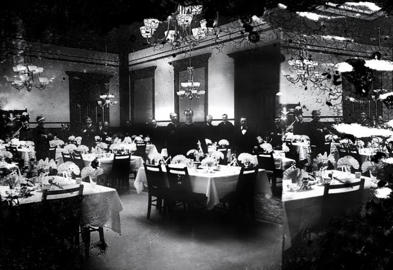 Diners at the Driskill Hotel were treated to the finest foods, service, and atmosphere. (Circa 1890)