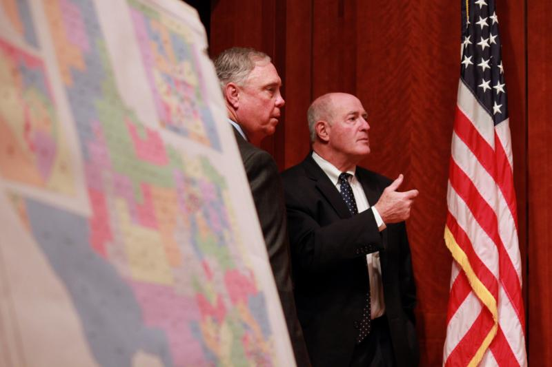 State Rep. Drew Darby, left, and State Sen. Kel Seliger speak on May 30, 2013 before the Senate Redistricting Committee hearing at the Capitol.