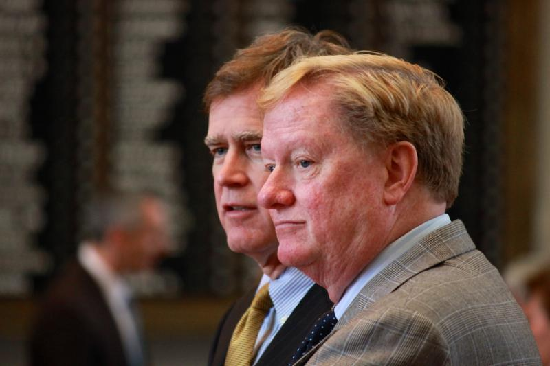 State Rep. Dan Branch, left, and State Rep. Jim Pitts on the House floor on May 26, 2013.