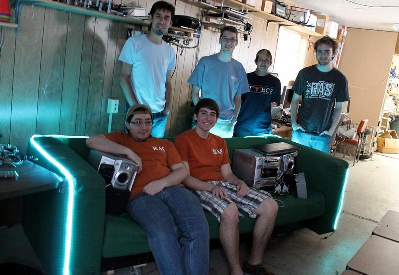 (Clockwise from bottom left) Robotics and Automation Society members Gilberto Rodriguez, Cruz Monrreal, Kevin Gilbert, Rachel Smith, Christopher Haster and Christopher Davis.