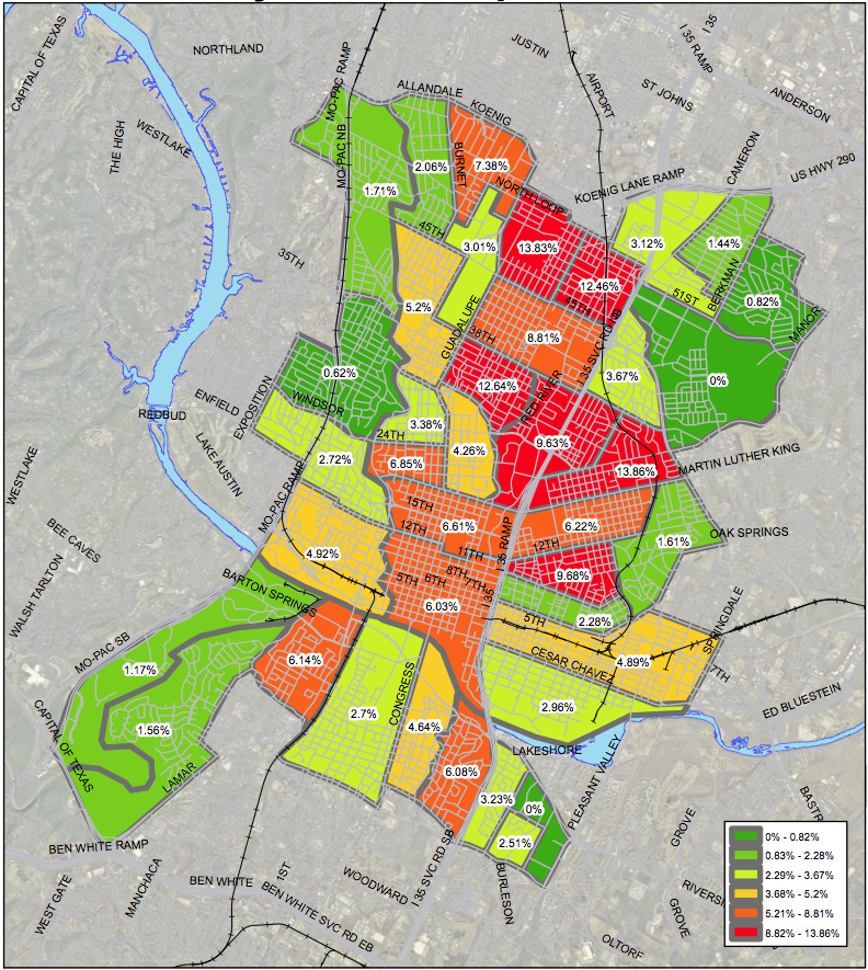 This City of Austin Map breaks down the percentage of Austinites commuting to work by area. Click the image for an enlarged view.