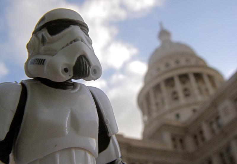A stormtrooper idles outside the Texas Capitol. This May 4th, comics fans and Star Wars aficionados will both find cause for celebration.