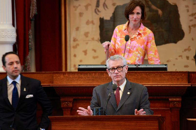 State Rep. Tryon Lewis, R-Odessa, at the podium, speaks on his bill, HB 690, during a floor debate on May 10, 2013.