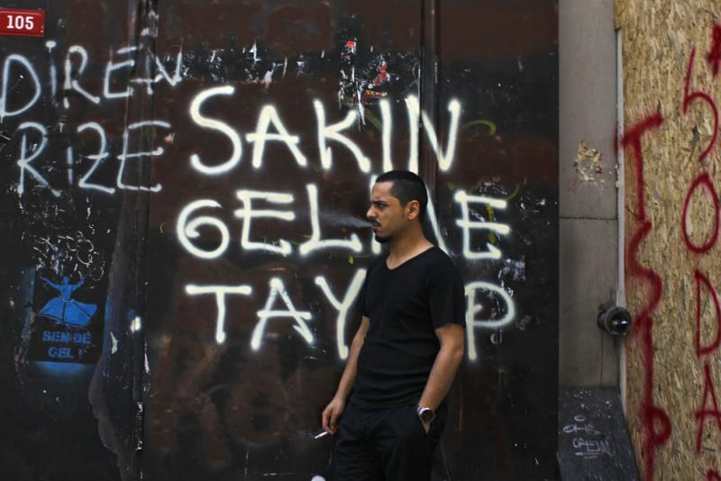 City walls near Taksim Square are graffitied with the same slogans that are later chanted throughout the streets.