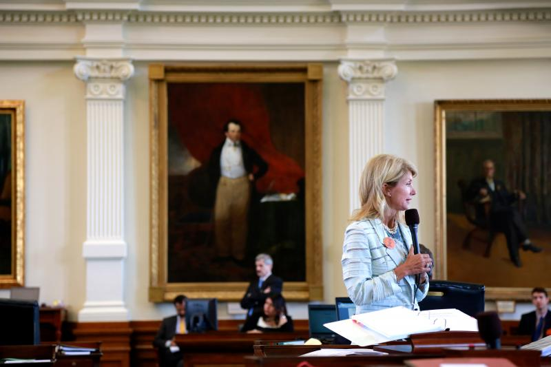 State Sen. Wendy Davis, D-Fort Worth, speaks during the early hours of her 2013 filibuster to kill Senate Bill 5 on June 25, 2013.