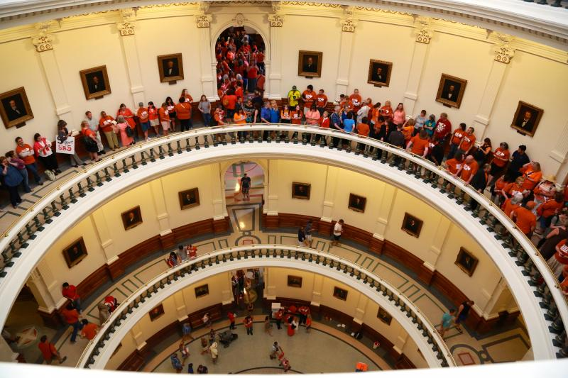 People against proposed abortion restrictions gathered in the rotunda of the Texas Capitol.