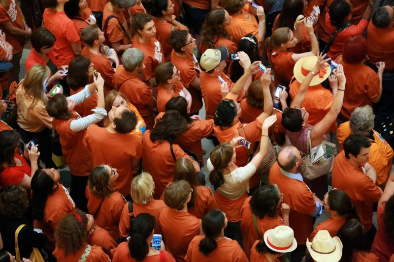 People filled the rotunda floor of the Texas Capitol on June 23, 2013, on the day the House is slated to take up abortion legislation.