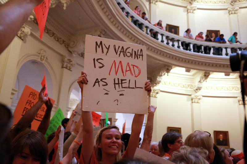 A Texas Capitol protest this summer. A federal judge blocked certain provisions of a restrictive Texas abortion law today.