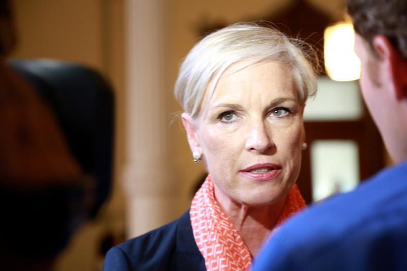 Cecile Richards, president of Planned Parenthood Federation of America, and daughter of former Texas Gov. Ann Richards, spoke with people at the Capitol on June 25, 2013.