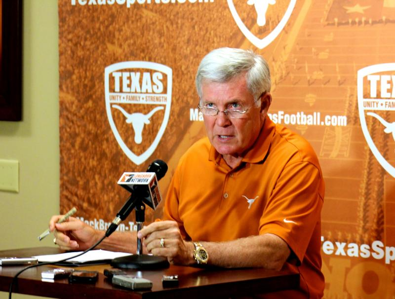 At a press conference on June 3, 2013, UT Football Coach Mack Brown said the Longhorns will look to bounce back from last year's 9-4 season.